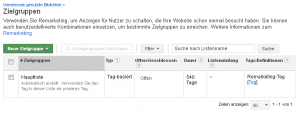 Remarketing-Tag in AdWords - Hauptliste
