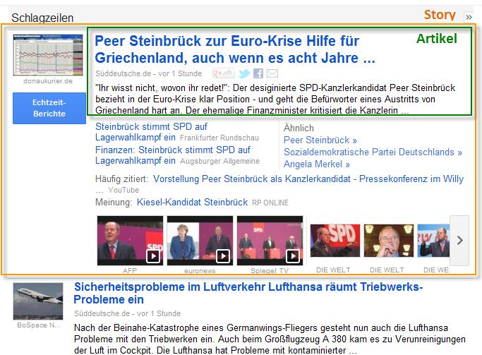 Google News - Story und Artikel