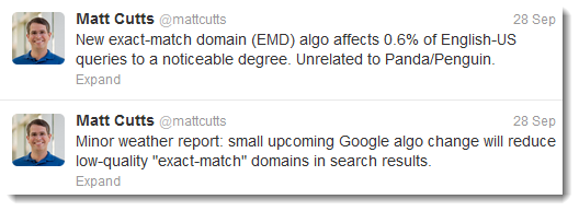 Matt Cutts kündigt das EMD-Update an